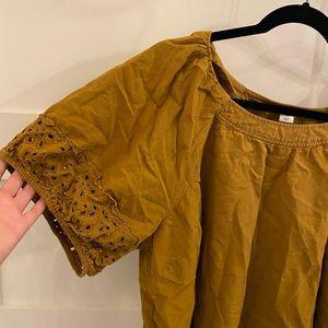 Puff sleeve mustard yellow blouse